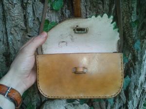 sac artisanal en cuir modèle ''Feuille de chêne'' vue ouvert